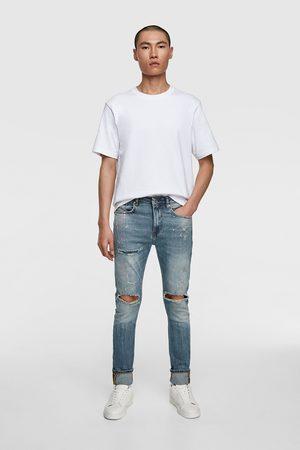 Zara Herren Skinny - Skinny-jeans mit farbspritzern
