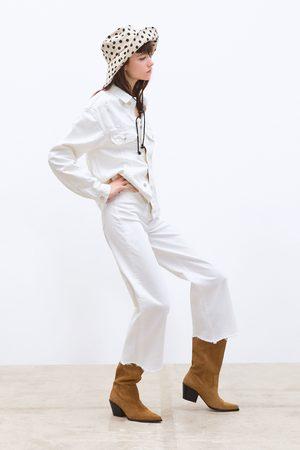Zara Damen Culotten - Jeans zw premium hw culotte white