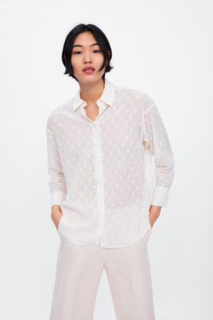 Zara Oversize-bluse mit gestickten tupfen