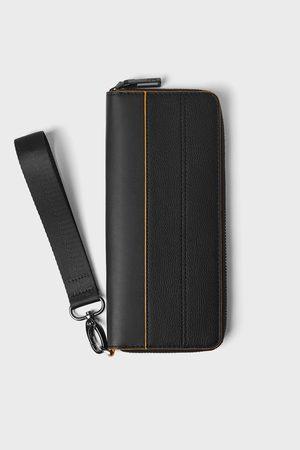 Zara Grosse schwarze brieftasche orangefarbenen details