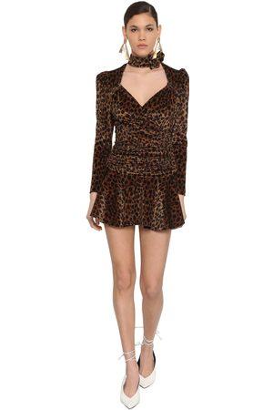 ATTICO Leopard Print Stretch Velvet Mini Dress