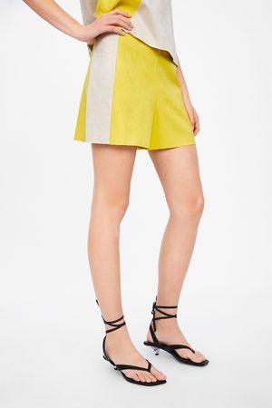 Zara Damen Shorts - Bermudashorts aus wildlederimitat in blockfarben