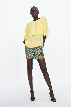 Zara Plissierte cape-bluse