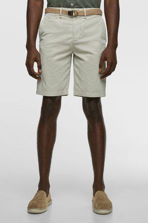 Zara Herren Shorts - Strukturierte bermudashorts mit gürtel