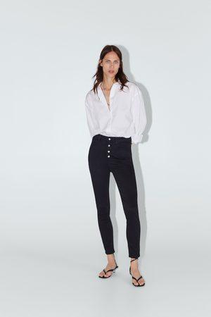 Zara Hight-waist-jeans zw premium mit knöpfen