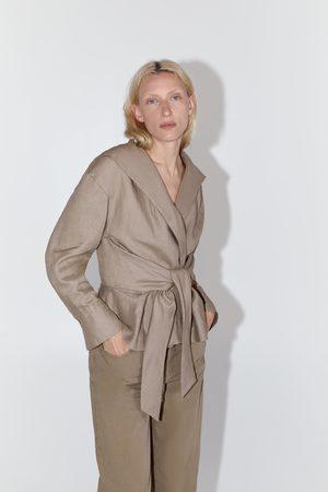 Zara Damen Blusen - Leinenbluse mit gürtel