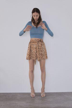 Zara Damen Shorts - Bermudashorts mit animalprint