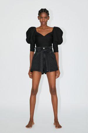 Zara Jeans-bermudashorts mit paperbag-bund