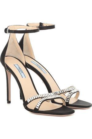 Prada Damen Sandalen - Verzierte Sandalen aus Satin