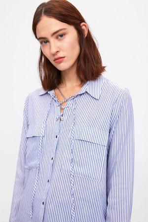 Zara Gestreiftes hemd mit schnürung