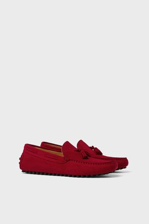 Zara Red leather driving shoes