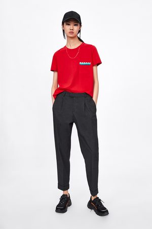 Zara Damen Shirts - Shirt mit spitzenärmeln