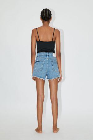 Zara Damen High Waisted - Hi-rise-jeansshorts mit rissen