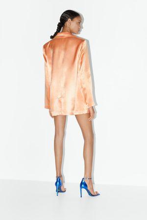 Zara Damen Clogs & Pantoletten - Lederpantolette mit absatz blue collection