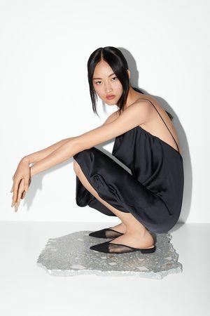 Zara Flache pantolette mit netzstoff