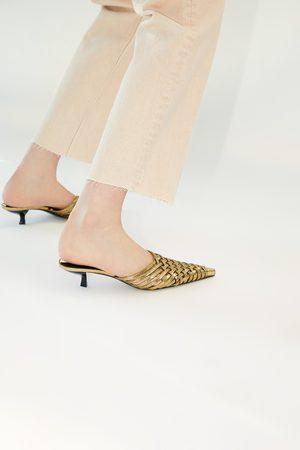 Zara Geflochtene pantolette in metallic mit absatz