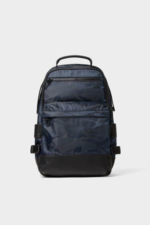 Zara Blauer rucksack mit camouflagemuster