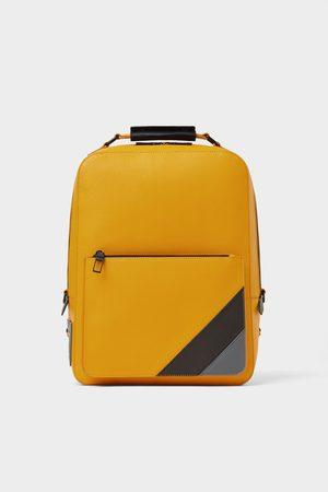 Zara Gelber rucksack mit streifen
