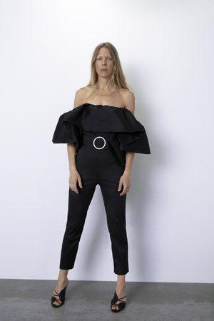 Zara Overall mit volant und gürtel