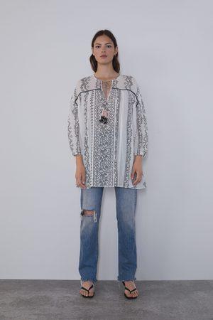 Zara Gemusterte bluse mit kordel