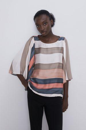 Zara Gestreifte bluse mit schleifen