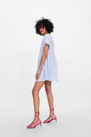 Zara Gestreiftes kleid mit knöpfen und häkelei