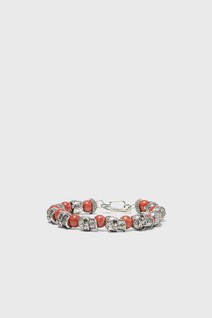 Zara Herren Armbänder - Armband mit schmuckperlen und totenkopf