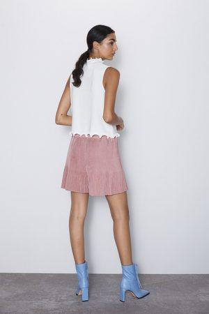 Zara Damen Shorts - Plissierte bermudashorts aus wildlederimitat