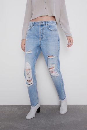 Zara Damen Baggy & Boyfriend - Jeans z1975 mom-fit mit rissen