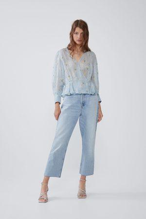 Zara Gemustertes hemd mit laméfaden
