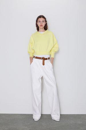 Zara Damen Sweatshirts - Gestricktes sweatshirt mit kapuze