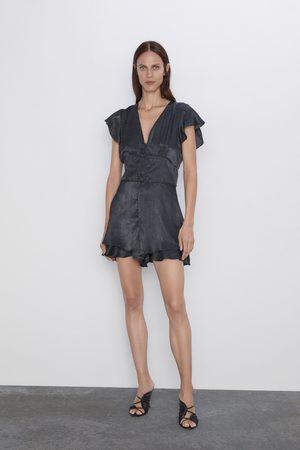 Zara Damen Jumpsuits - Overall mit volant und tupfenmuster