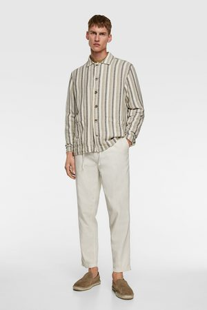 Zara Gestreiftes oberhemd aus festem stoff
