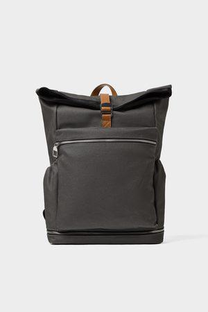 Zara Herren Rucksäcke - Grauer rucksack mit überschlag