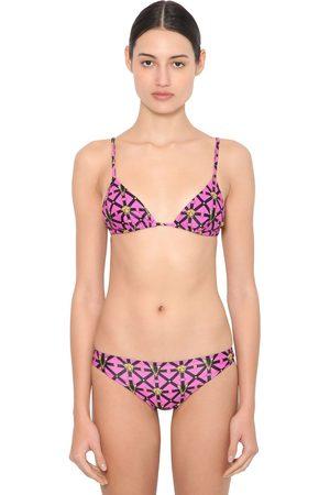 VERSACE Bedrucktes Dreiecks-bikini-oberteil Aus Lycra