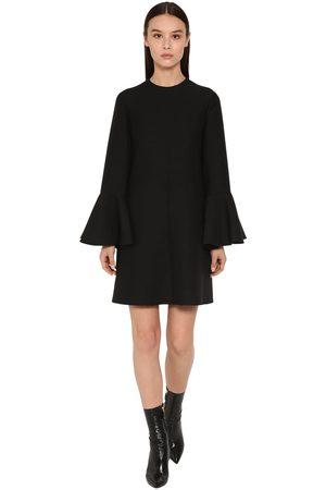 VALENTINO Couture Ruffled Sleeves Crepe Mini Dress