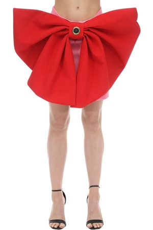 FAUSTO PUGLISI Satin Mini Skirt W/ Bows