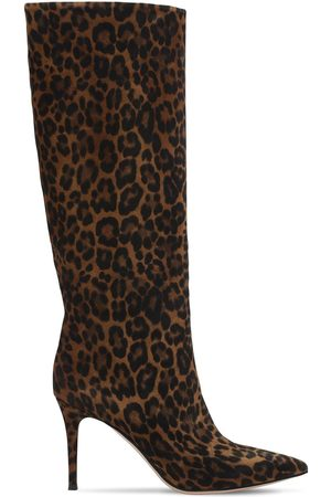 Gianvito Rossi 85mm Leopard Print Suede Tall Boots