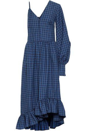 Rokh Kariertes One-Shoulder-Kleid