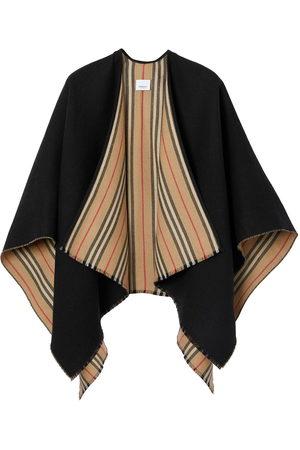 Burberry Jacken - Icon stripe detail wool cape