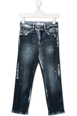 Philipp Plein Junior Paint splatter jeans