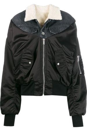 Unravel Project Denim-panelled bomber jacket