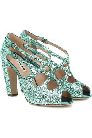 Miu Miu Peeptoe-Sandalen aus Glitter