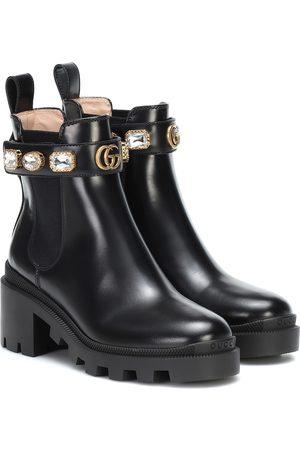 Gucci Verzierte Ankle Boots aus Leder