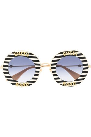 Gucci Striped round frame sunglasses