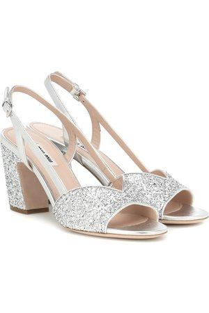 Miu Miu Exklusiv bei Mytheresa – Sandalen aus Leder mit Glitter