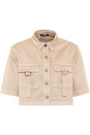 Balmain Cropped-Hemd aus Baumwolle