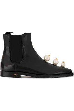 Dolce & Gabbana Damen Stiefeletten - Faux pearl-embellished Chelsea boots