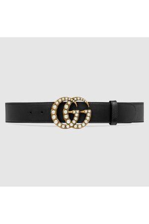 Gucci Ledergürtel mit perlenbesetzter GG-Schnalle