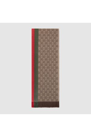 Gucci Strickschal mit GG Jacquard, Webstreifen und Fransen